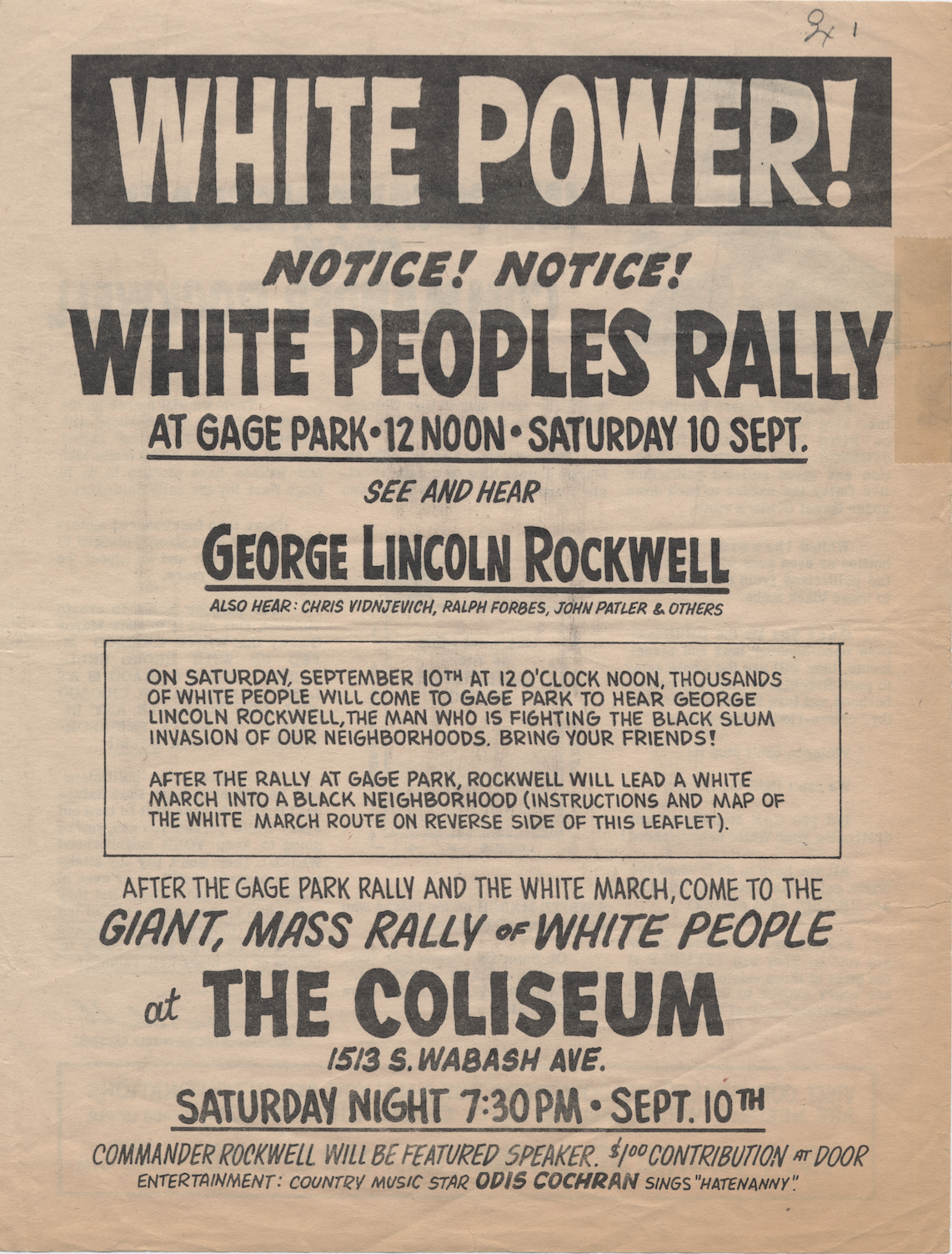 A Poster Promoting George Lincoln Rockwell S White People S March In Chicago Courtesy
